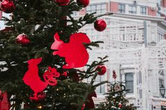 Christmas and New Year holiday background. Decorations. Christmas decorations on the streets royalty free stock photography