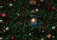 Christmas and New Year holiday background. Decorations. Christmas decorations on the streets stock photography