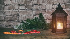 Christmas New Year holiday background. gingerbread cookies and fir branch tree table. Top view. Copy space stock photo