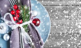 Christmas and New Year holiday background. Greeting card. Table place setting. Christmas and New Year holiday background. Xmas greeting card. Winter holiday stock photography