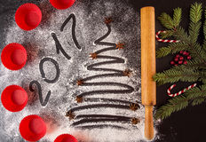 Christmas and New Year holiday background with molds and text 20 Stock Image