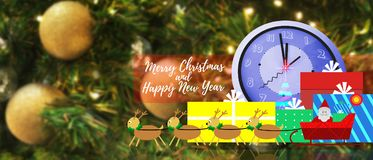 Christmas and new year holiday backgrounds. Christmas and new year holiday backgrounds with illustration of Santa Claus and Reindeer Scene and colorful presents Royalty Free Stock Photos