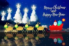 Christmas and new year holiday backgrounds. Christmas and new year holiday backgrounds with illustration of Santa Claus and Reindeer Scene and Christmas tree Royalty Free Stock Photography