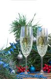 Christmas and New Year holiday composition, champaign, pine, ornament royalty free stock photography
