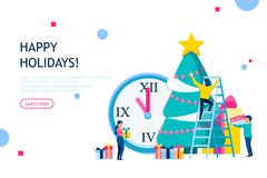Christmas and New Year holiday concept. Business people decorating Christmas tree. Usable for infographics, landing page, banner and other. Vector illustration stock illustration