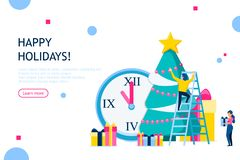 Christmas and New Year holiday concept. Business people decorating Christmas tree. Usable for infographics, landing page, banner and other. Vector illustration royalty free illustration