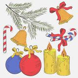 Christmas new year holiday decoration realistic icons set isolated vector illustration Stock Photo