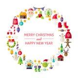 Christmas New Year Holiday Flat Design Icons Circle Set isolated Stock Image