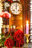 Christmas, New year, holiday, fun. The clock is a symbol of time, reminiscent of the past and the future. Celebrating the holiday. Give loved and dear people royalty free stock photography