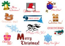 Christmas and New Year holiday greeting card Royalty Free Stock Image