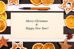 Christmas and new year holiday greeting card Stock Photos
