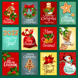 Christmas and New Year holiday greeting card set stock illustration