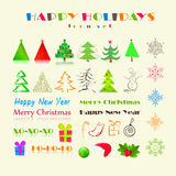 Christmas or New Year Holiday Icon Set Royalty Free Stock Photography