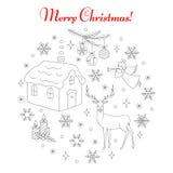 Christmas and New Year holiday icons set. Christmas and New Year holiday line icons set, vector illustrations hand drawn. Christmas reindeer, fir tree branch Stock Image