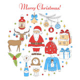 Christmas and New Year holiday icons set Royalty Free Stock Photo