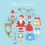 Christmas and New Year holiday icons set Stock Image