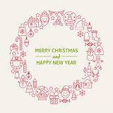 Christmas New Year Holiday Line Art Icons Set Circle Stock Image