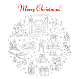 Christmas and New Year holiday line icons set Royalty Free Stock Photos