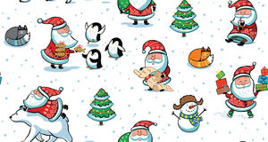 Christmas and New Year holiday pattern with funny Santa Claus Stock Image