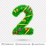 Holiday decorative number of fir tree with toys. Christmas and New Year holiday symbol. Vector font element vector illustration