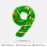 Holiday decorative number of fir tree with toys. Christmas and New Year holiday symbol. Vector font element stock illustration