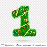 Holiday decorative number of fir tree with toys. Christmas and New Year holiday symbol. Vector font element royalty free illustration