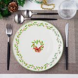 Christmas And New Year Holiday Table Setting Celebration. Place setting for Dinner Decorations. Copy space. Top view. Christmas And New Year Holiday Table stock photos