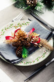 Christmas And New Year Holiday Table Setting Celebration Place setting Royalty Free Stock Images