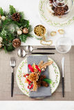 Christmas And New Year Holiday Table Setting Celebration Place setting Stock Photo