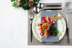 Christmas And New Year Holiday Table Setting Celebration Place setting Royalty Free Stock Photography
