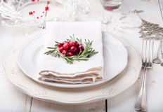 Christmas And New Year Holiday Table Setting with cranberry  decoration. Stock Photos