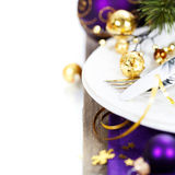 Christmas And New Year Holiday Table Setting Royalty Free Stock Image