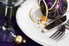 Christmas And New Year Holiday Table Setting Stock Photos