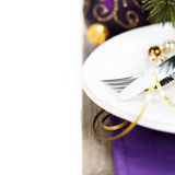 Christmas And New Year Holiday Table Setting Stock Photo