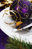 Christmas And New Year Holiday Table Setting Stock Photography