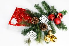 Christmas and new year holiday table setting with hat of santa claus. Celebration. Isolated white. royalty free stock photo