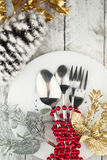Christmas And New Year Holiday Table Setting. Holiday Decorations. Stock Photography