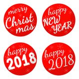 Christmas and 2018 new year holiday themed vector sticker set isolated on white background. Royalty Free Stock Images