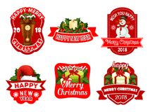 Christmas New Year holiday vector greeting icons Stock Images