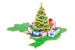 Christmas and New Year holidays in Brazil concept. 3D rendering Royalty Free Stock Photos