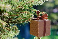 Christmas and New Year holidays card. Gift box hanging on fir branch on blue green background. Side view, selective focus royalty free stock photography