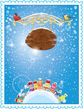 Christmas and New Year holidays card with small fa Stock Photo