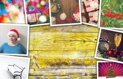 Christmas and New Year holidays collage. With copy space Stock Photos