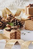 Christmas and New Year holidays concept. Gift boxes with ribbon, fir branch, cones on white knitted background stock photo