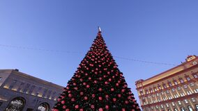 Christmas New Year holidays decoration Lubyanskaya Lubyanka Square in the evening, Moscow, Russia.  stock video footage