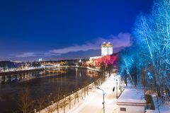 Christmas New Year holidays decoration in Moscow at night, Russia-- Andreevskaya Andreevsky embankment royalty free stock photography