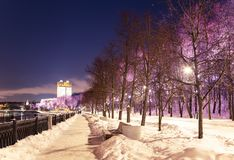Christmas New Year holidays decoration in Moscow at night, Russia-- Andreevskaya Andreevsky embankment royalty free stock photos