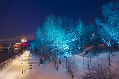 Christmas New Year holidays decoration in Moscow at night, Russia-- Andreevskaya Andreevsky embankment stock photography