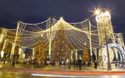 Christmas New Year holidays decoration in Moscow at night, Russia. Lubyanskaya Lubyanka Square stock photography