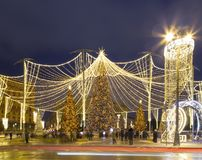 Christmas New Year holidays decoration in Moscow at night, Russia. Lubyanskaya Lubyanka Square royalty free stock photos